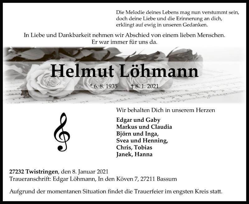 Traueranzeige für Helmut Löhmann vom 13.01.2021 aus SYK