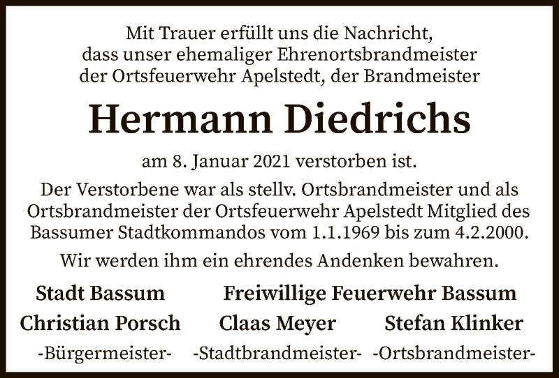 Traueranzeige für Hermann Diedrichs vom 13.01.2021 aus SYK