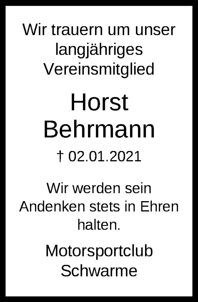 Todesanzeige von  Horst Behrmann
