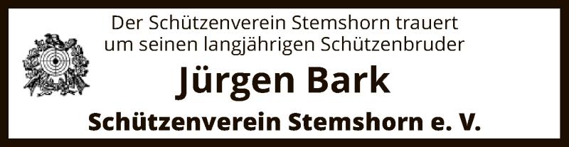 Traueranzeige für Jürgen Bark vom 13.01.2021 aus SYK