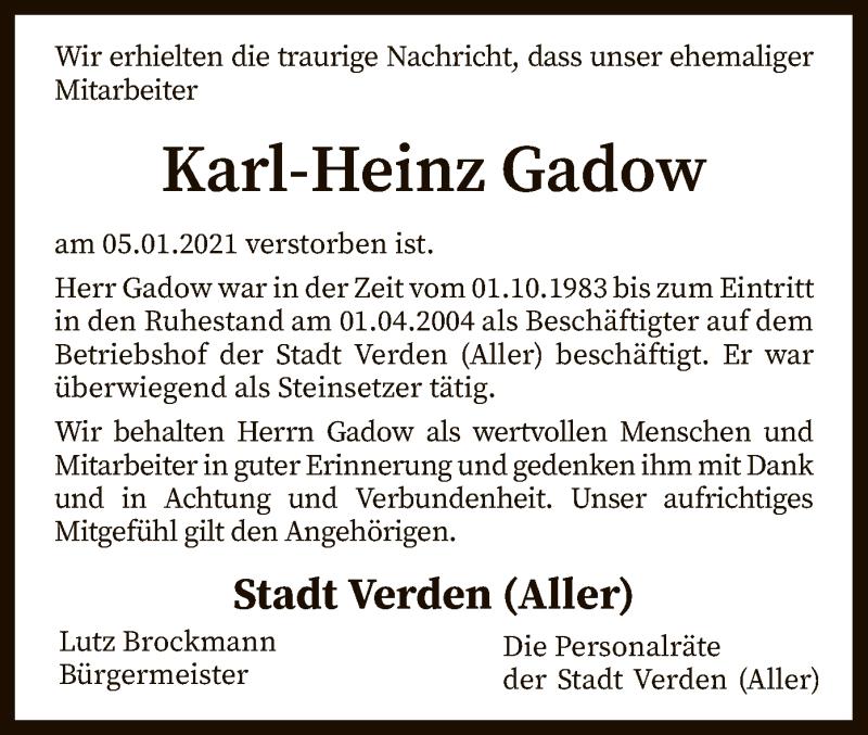 Traueranzeige für Karl-Heinz Gadow vom 13.01.2021 aus SYK