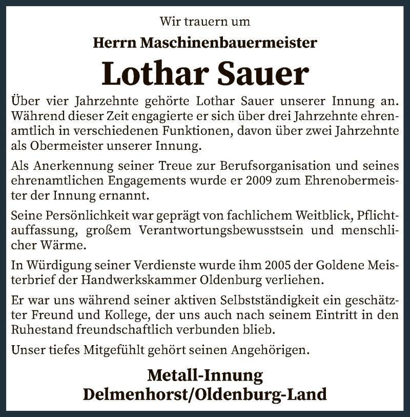 Traueranzeige für Lothar Sauer vom 22.01.2021 aus SYK