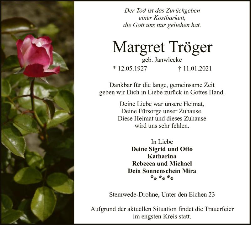 Traueranzeige für Margret Tröger vom 13.01.2021 aus SYK