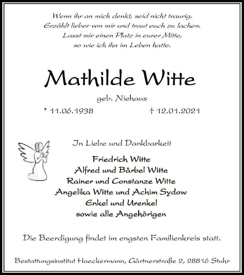 Traueranzeige für Mathilde Witte vom 16.01.2021 aus SYK