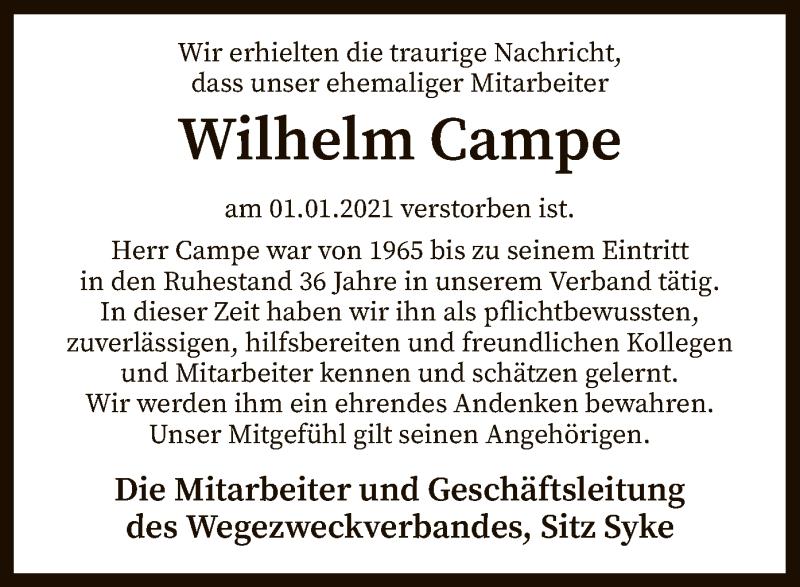 Traueranzeige für Wilhelm Campe vom 14.01.2021 aus SYK