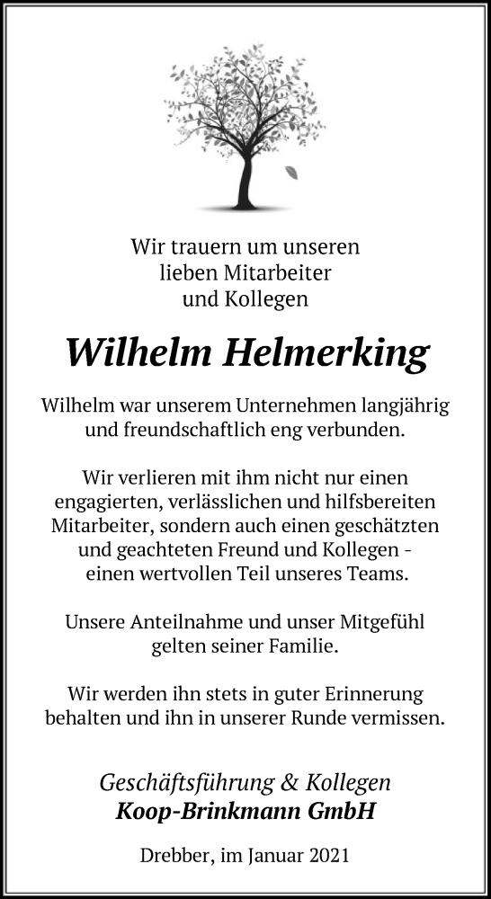 Todesanzeige von  Wilhelm Helmerking