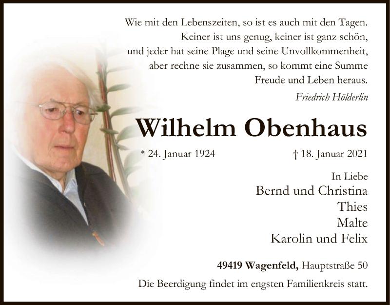 Traueranzeige für Wilhelm Obenhaus vom 21.01.2021 aus SYK