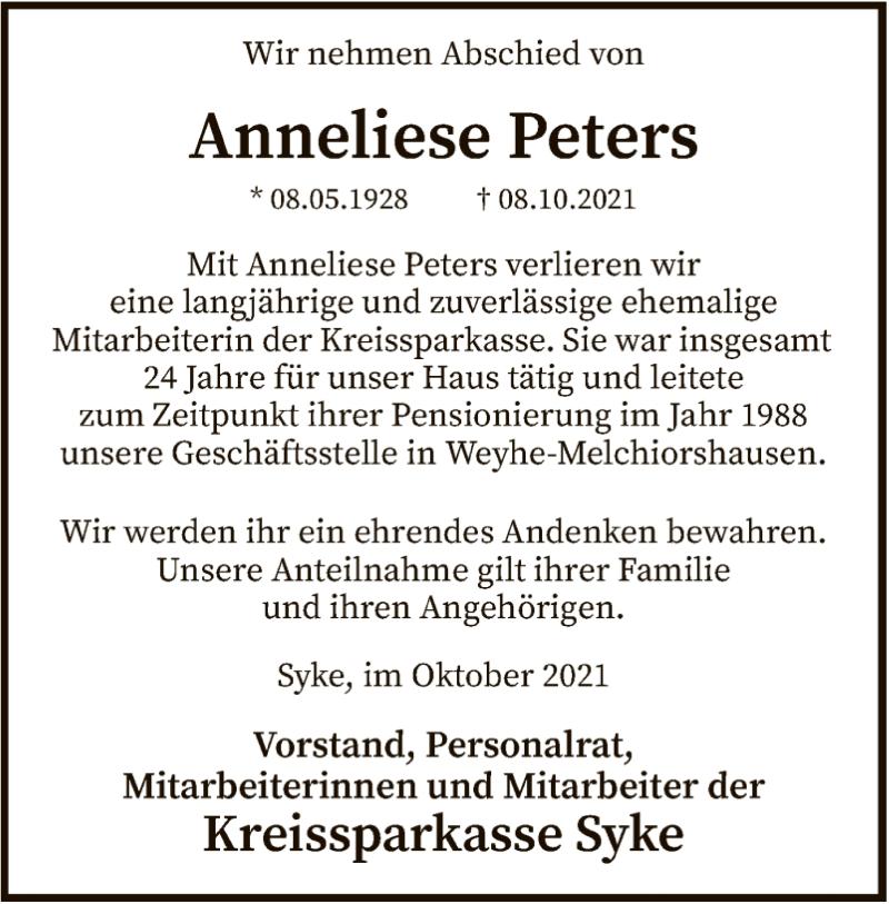 Traueranzeige für Anneliese Peters vom 14.10.2021 aus SYK