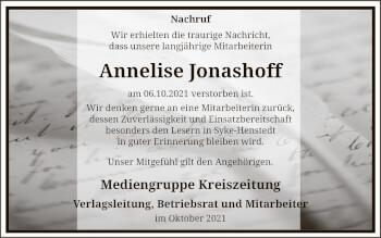 Traueranzeige von Annelise Jonashoff von SYK