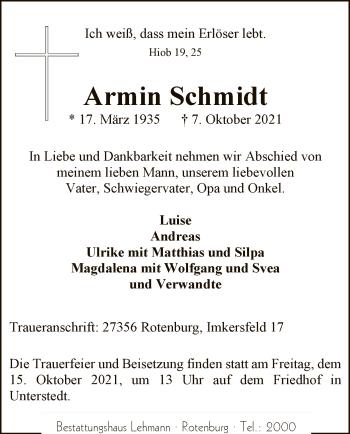 Traueranzeige von Armin Schmidt von SYK