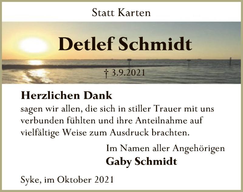 Traueranzeige für Detlef Schmidt vom 16.10.2021 aus SYK