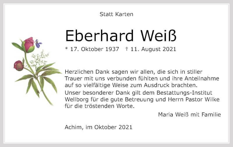 Traueranzeige für Eberhard Weiß vom 09.10.2021 aus SYK