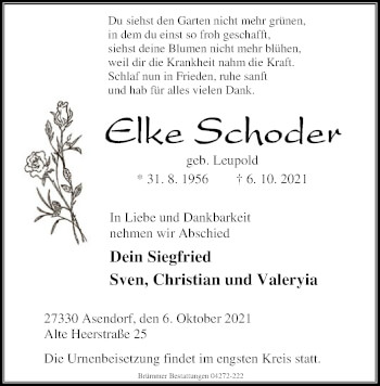 Traueranzeige von Elke Schoder von SYK