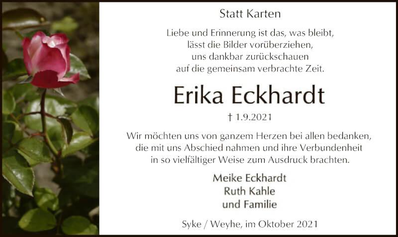 Traueranzeige für Erika Eckhardt vom 09.10.2021 aus SYK