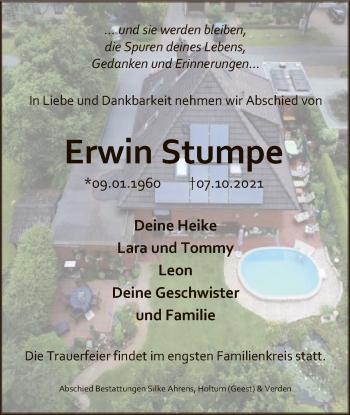 Traueranzeige von Erwin Stumpe von SYK