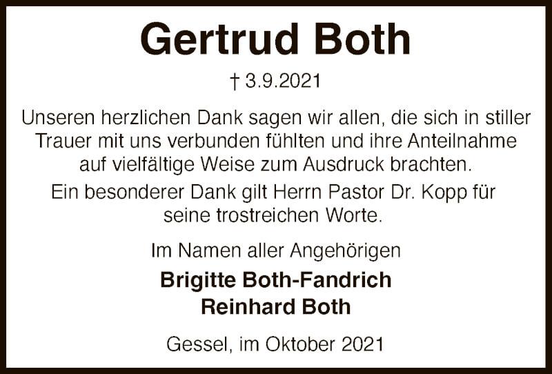 Traueranzeige für Gertrud Both vom 09.10.2021 aus SYK