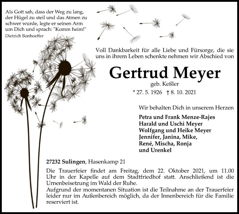 Traueranzeige für Gertrud Meyer vom 14.10.2021 aus SYK