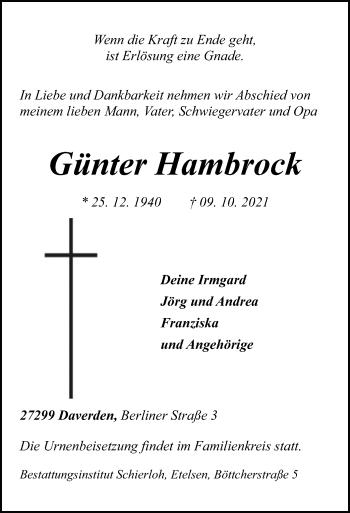 Traueranzeige von Günter Hambrock von SYK