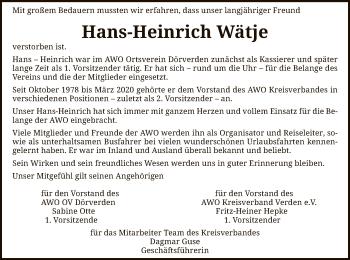 Traueranzeige von Hans-Heinrich Wätje von SYK