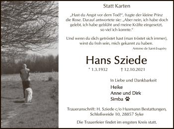 Traueranzeige von Hans Sziede von SYK