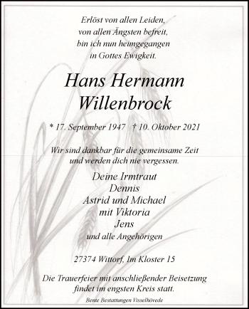 Traueranzeige von Hans Hermann Willenbrock von SYK
