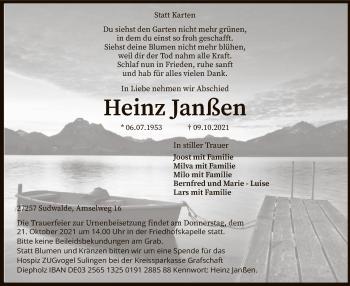 Traueranzeige von Heinz Janßen von SYK