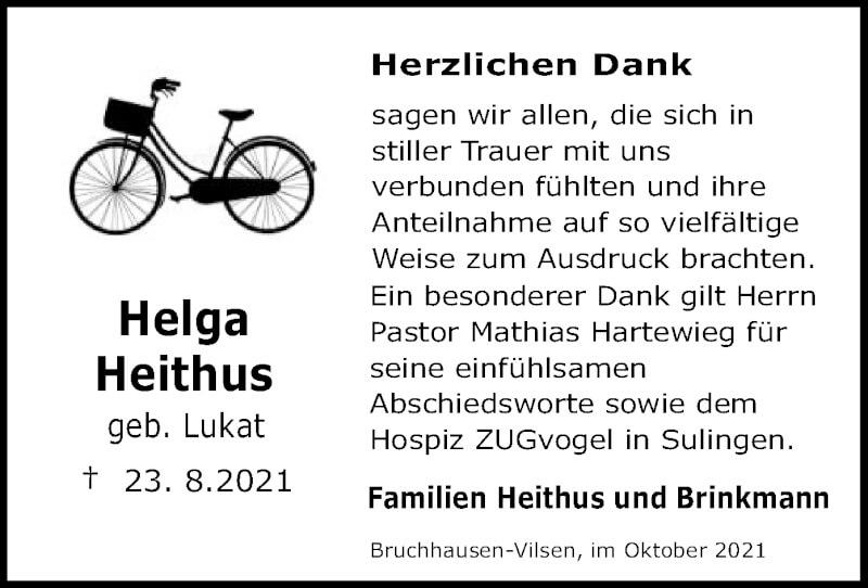 Traueranzeige für Helga Heithus vom 09.10.2021 aus SYK