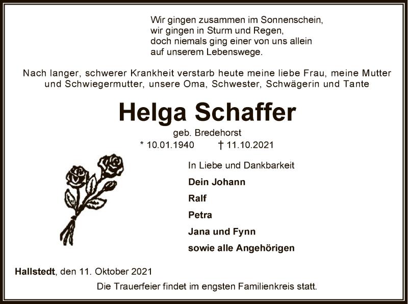 Traueranzeige für Helga Schaffer vom 14.10.2021 aus SYK
