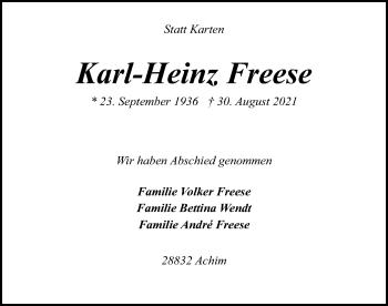 Traueranzeige von Karl-Heinz Freese von SYK