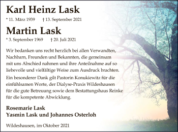 Traueranzeige von Karl Heinz und Martin Lask von SYK