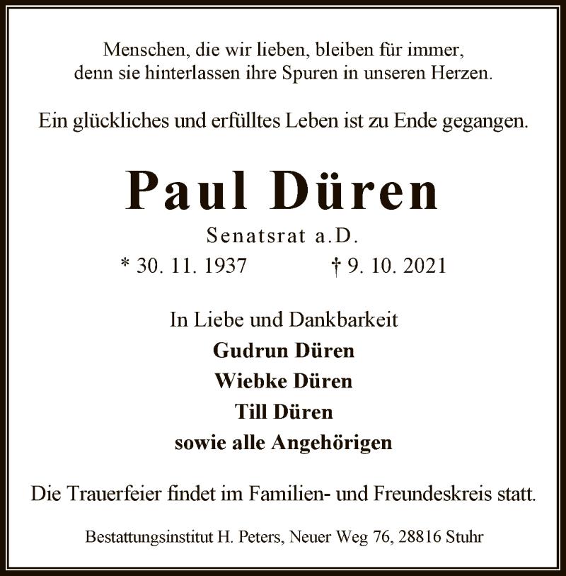 Traueranzeige für Paul Düren vom 13.10.2021 aus SYK
