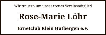 Traueranzeige von Rose-Marie Löhr von SYK