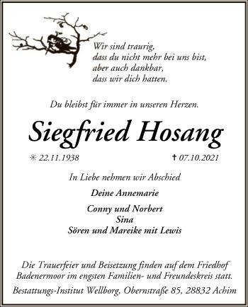 Traueranzeige von Siegfried Hosang von SYK