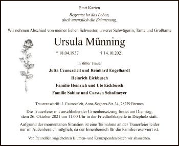 Traueranzeige von Ursula Münning von SYK
