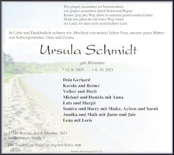 Traueranzeige von Ursula Schmidt von SYK