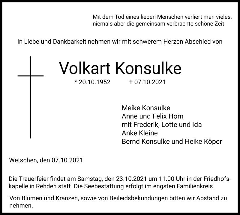 Traueranzeige für Volkart Konsulke vom 13.10.2021 aus SYK