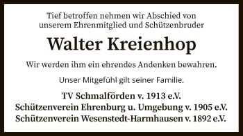 Traueranzeige von Walter Kreienhop von SYK
