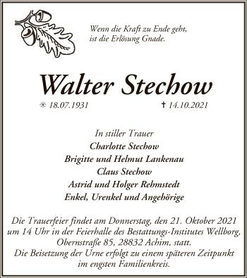 Traueranzeige von Walter Stechow von SYK