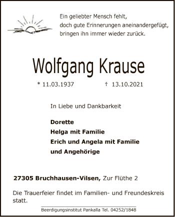 Traueranzeige von Wolfgang Krause von SYK