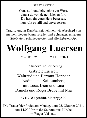 Traueranzeige von Wolfgang Luersen von SYK