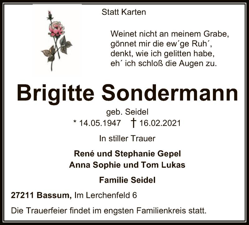 Traueranzeige für Brigitte Sondermann vom 20.02.2021 aus SYK