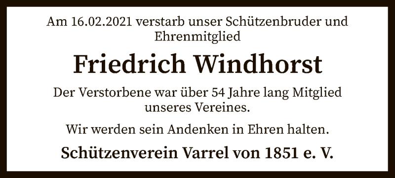 Traueranzeige für Friedrich Windhorst vom 23.02.2021 aus SYK