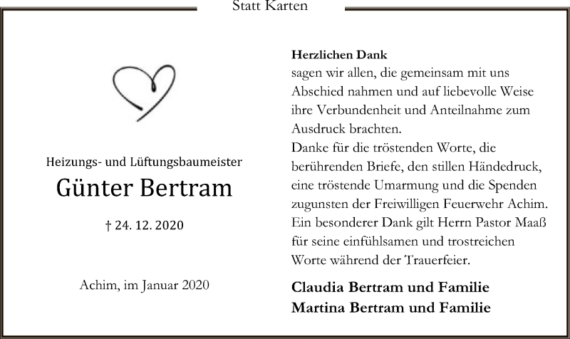 Traueranzeige für Günter Bertram vom 06.02.2021 aus SYK