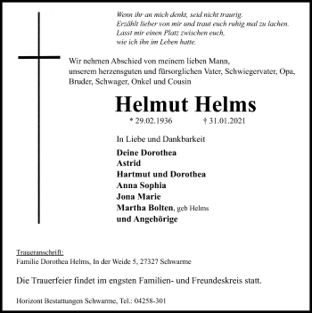 Traueranzeige von Helmut Helms von SYK