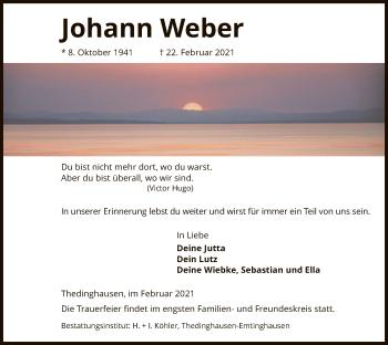 Traueranzeige von Johann Weber von SYK