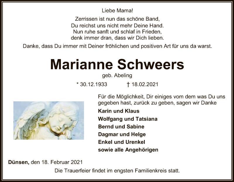 Traueranzeige für Marianne Schweers vom 23.02.2021 aus SYK