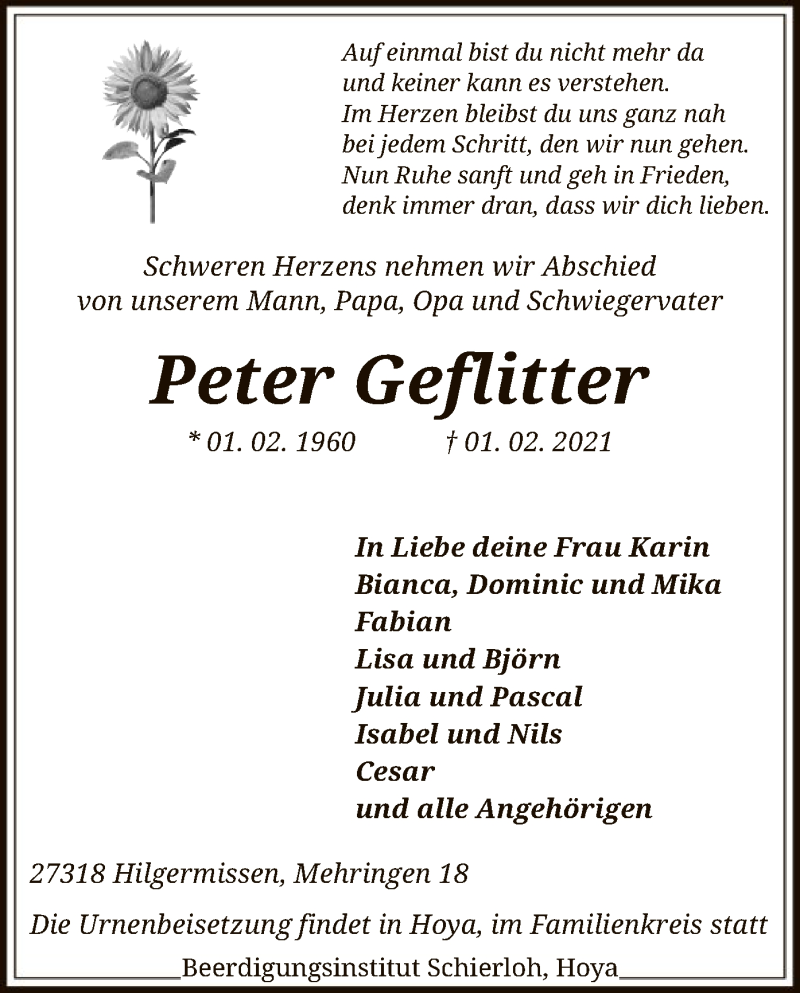 Traueranzeige für Peter Geflitter vom 06.02.2021 aus SYK