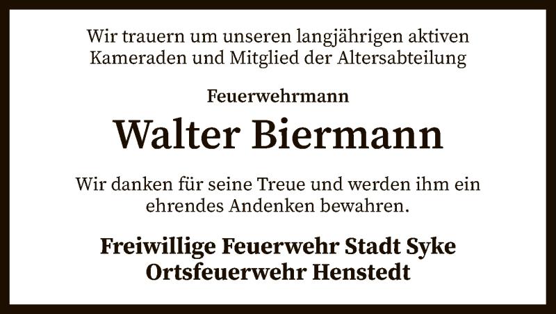 Traueranzeige für Walter Biermann vom 20.02.2021 aus SYK