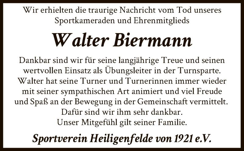Traueranzeige für Walter Biermann vom 23.02.2021 aus SYK