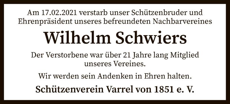 Traueranzeige für Wilhelm Schwiers vom 26.02.2021 aus SYK